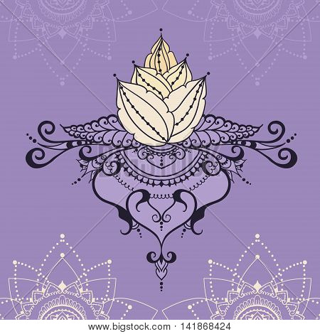 Hand-drawn lotus in east style. Can be used for backgrounds business style tattoo templates cards design or else. Vector illustration.