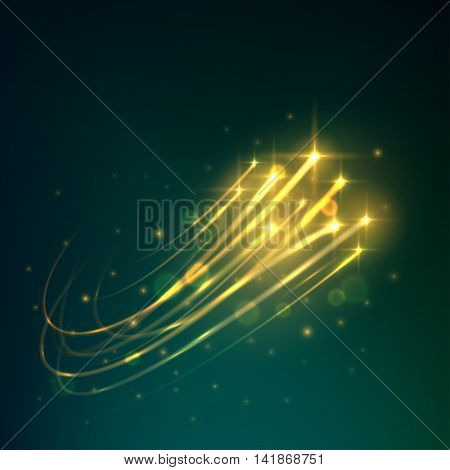Meteor shower with yellow shooting stars burning in the night sky with bright trails of afterglow. Astronomy and space concept design usage