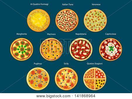 Different types of pizza flat icon with marinara, margherita, napoletana, veronese, sicilian, pugliese, capricciosa, italian tuna, quatre fromage and four seasons