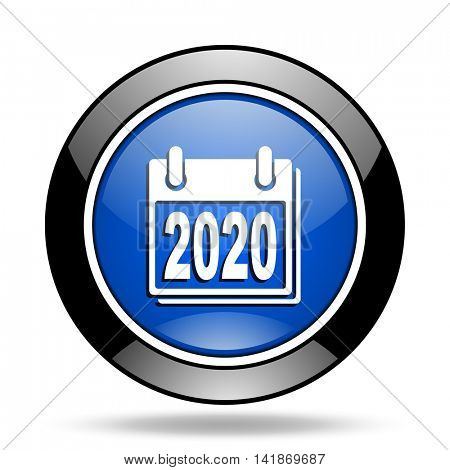 new year 2020 blue glossy icon