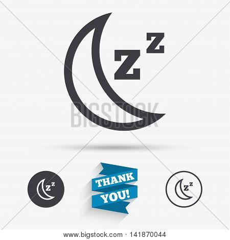 Sleep sign icon. Moon with zzz button. Standby. Flat icons. Buttons with icons. Thank you ribbon. Vector