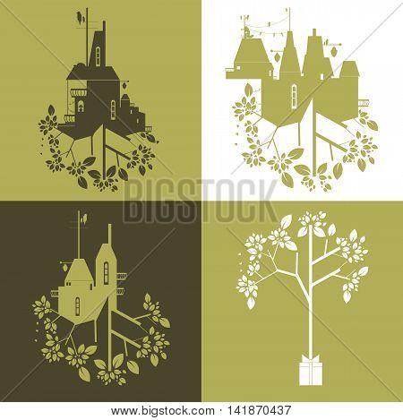 Set of vector illustration. Ecology concept decorative image