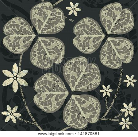 Seamless pattern with clover leaves. Template for design fabric. Decorative background with clover leaves and flower for St. Patrick's Day.