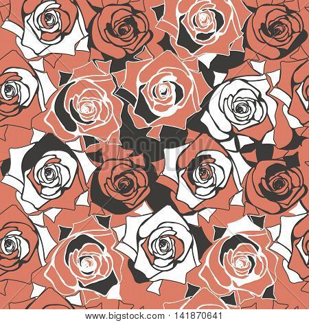 Abstract seamless patern with elegant roses. Floral template can be used for design fabric, linen, tile paper and more creative designs. Vector image.