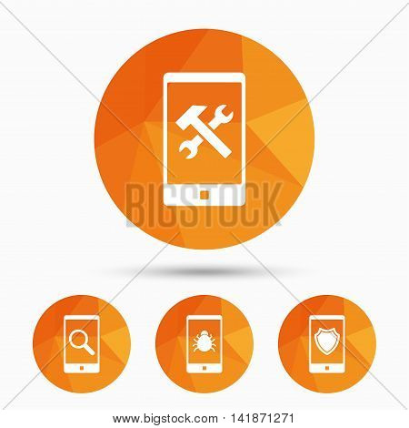 Smartphone icons. Shield protection, repair, software bug signs. Search in phone. Hammer with wrench service symbol. Triangular low poly buttons with shadow. Vector