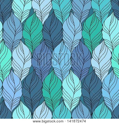 Blue vector Seamless Contour Pattern. Hand Drawn Monochrome Floral Texture Decorative Leaves Coloring Book