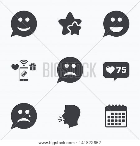 Speech bubble smile face icons. Happy, sad, cry signs. Happy smiley chat symbol. Sadness depression and crying signs. Flat talking head, calendar icons. Stars, like counter icons. Vector