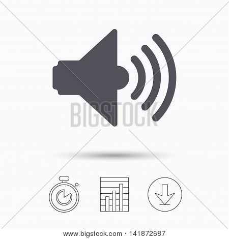 Sound icon. Music dynamic symbol. Stopwatch, chart graph and download arrow. Linear icons on white background. Vector