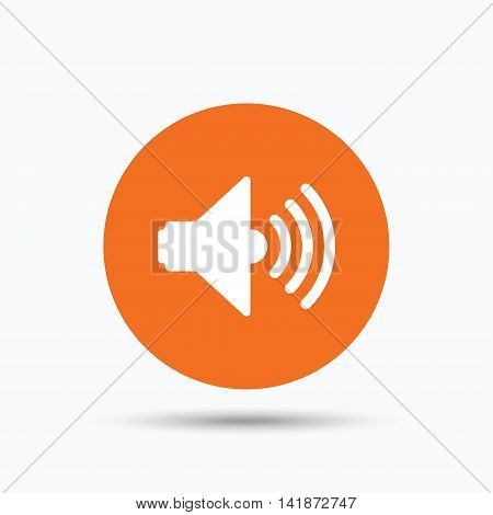 Sound icon. Music dynamic symbol. Orange circle button with flat web icon. Vector