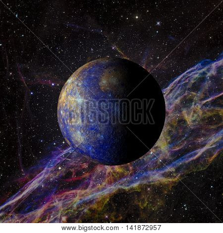 Solar System Planet Mercury On Nebula Background 3D Rendering.