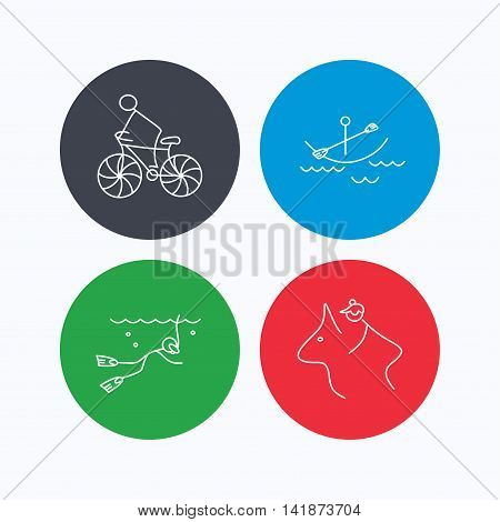 Diving, biking and horseback riding icons. Boating linear sign. Linear icons on colored buttons. Flat web symbols. Vector
