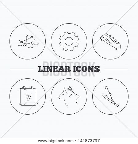 Boating, horseback riding and bobsled icons. Ski jumping linear sign. Flat cogwheel and calendar symbols. Linear icons in circle buttons. Vector