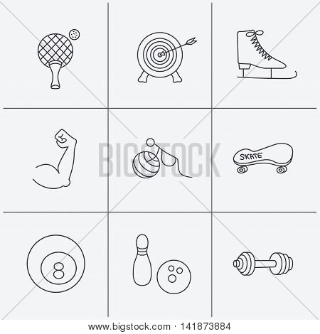 Target, table tennis and fitness sport icons. Skateboard, muscle and bowling linear signs. Ice skates, billiards and gymnastics icons. Linear icons on white background. Vector