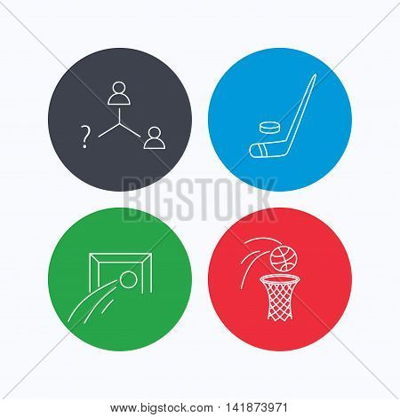 Football, ice hockey and basketball icons. Vacancy linear sign. Linear icons on colored buttons. Flat web symbols. Vector