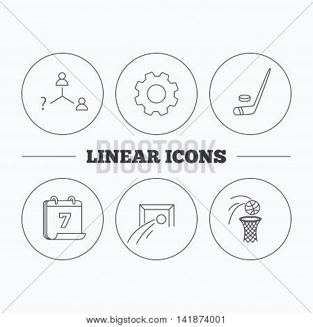 Football, ice hockey and basketball icons. Vacancy linear sign. Flat cogwheel and calendar symbols. Linear icons in circle buttons. Vector