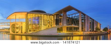 BERLIN, GERMANY - CIRCA May, 2016: Panoramic view of Marie-Elisabeth-Lueders-Haus - New parliamentary complex in the new government quarter of Berlin, Mitte district near old building of Bundestag, Berlin, Germany.