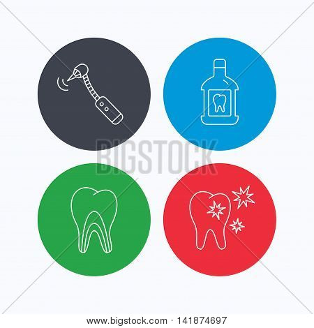 Tooth, mouthwash and dentinal tubules icons. Healthy teeth, dentinal tubules linear sign. Linear icons on colored buttons. Flat web symbols. Vector