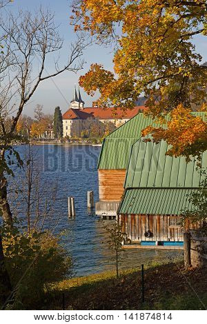 Idyllic Lake Tegernsee With Boathouse And View To The Castle