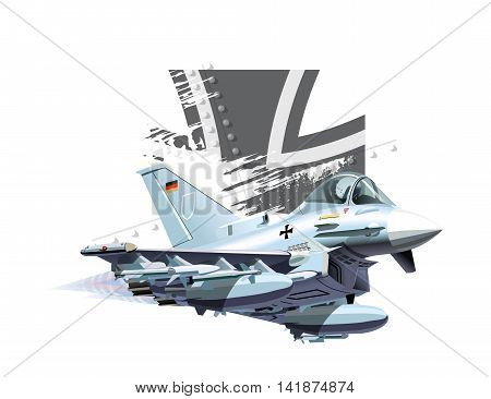 Vector Cartoon Fighter Plane. Available EPS-10 vector format separated by groups and layers for easy edit