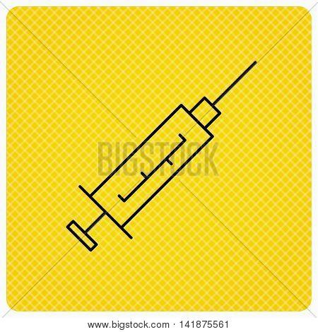 Syringe icon. Injection or vaccine instrument sign. Laboratory analyze symbol. Linear icon on orange background. Vector