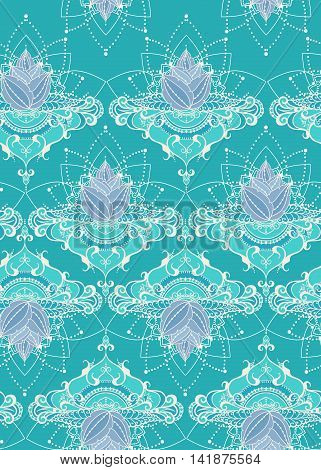 Seamless pattern with lotus flowers. Can be used for backgrounds business style tattoo templates cards design textile or else. Vector illustration.