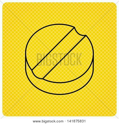 Tablet icon. Medicine drug sign. Pharmaceutical cure symbol. Linear icon on orange background. Vector