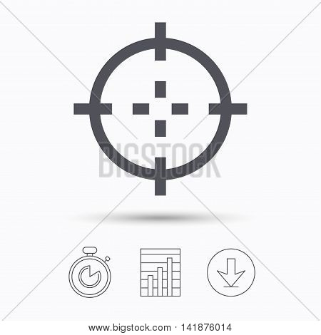 Target icon. Crosshair aim symbol. Stopwatch, chart graph and download arrow. Linear icons on white background. Vector