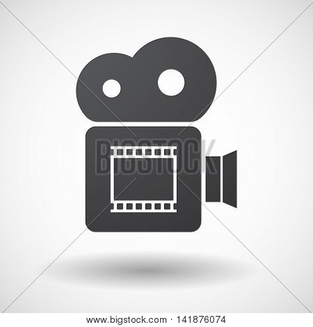 Isolated Retro Cinema Camera Icon With   A Photographic 35Mm Film Strip