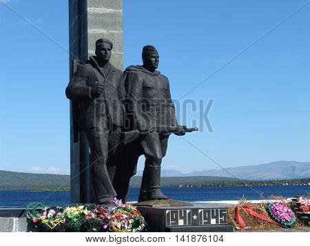 MONCHEGORSK, RUSSIA - JULY 13, 2010: Monument to Defenders of Arctic during Great Patriotic War 1941-1945 - place townspeople memory