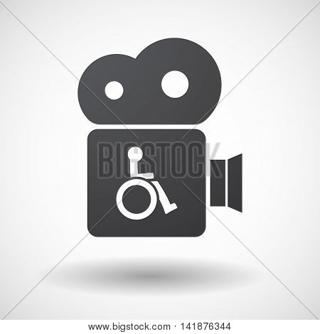Isolated Retro Cinema Camera Icon With  A Human Figure In A Wheelchair Icon