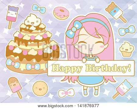Happy birthday card with cute smiling cartoon chibi girl, sweets and stars on gradient pastel triangular background . Vector illustration.