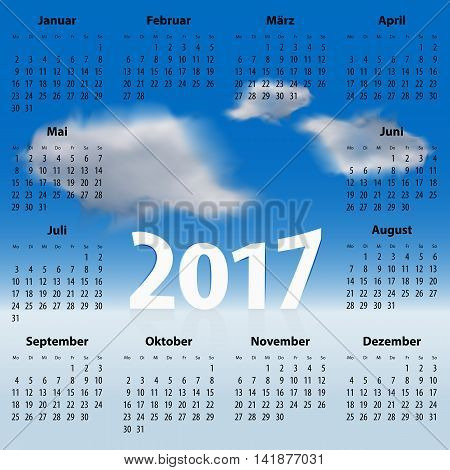 German Calendar for 2017 year with clouds in the blue sky. Best for print web design and presentation. Copy space on clouds for any message text or sign. Mondays first. Vector illustration
