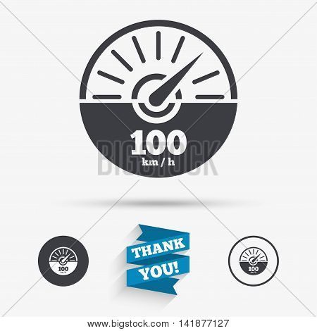 Tachometer sign icon. 100 km per hour revolution-counter symbol. Car speedometer performance. Flat icons. Buttons with icons. Thank you ribbon. Vector