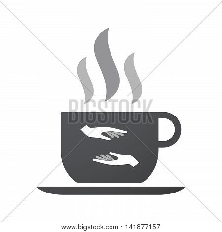 Isolated Coffee Cup Icon With  Two Hands Giving And Receiving  Or Protecting