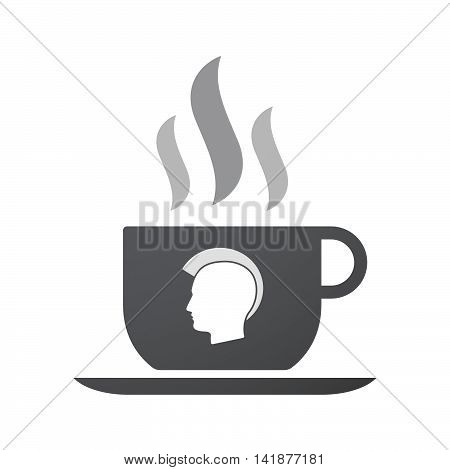 Isolated Coffee Cup Icon With  A Male Punk Head Silhouette