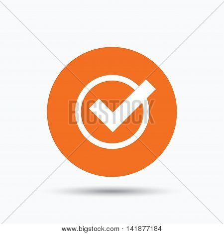 Tick icon. Check or confirm symbol. Orange circle button with flat web icon. Vector
