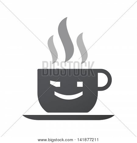 Isolated Coffee Cup Icon With  A Wink Text Face Emoticon