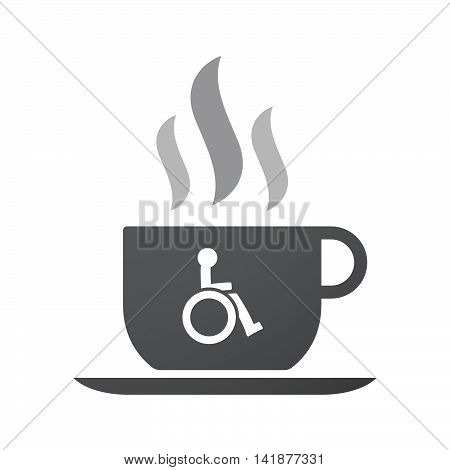 Isolated Coffee Cup Icon With  A Human Figure In A Wheelchair Icon
