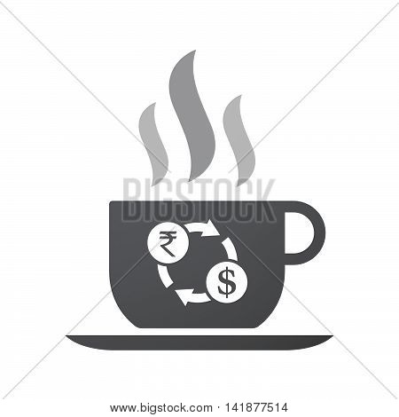 Isolated Coffee Cup Icon With  A Rupee And Dollar Exchange Sign
