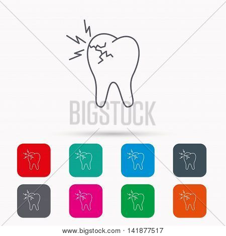 Toothache icon. Dental healthcare sign. Linear icons in squares on white background. Flat web symbols. Vector