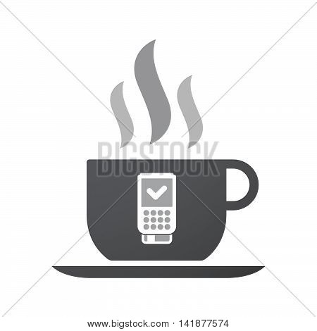 Isolated Coffee Cup Icon With  A Dataphone Icon