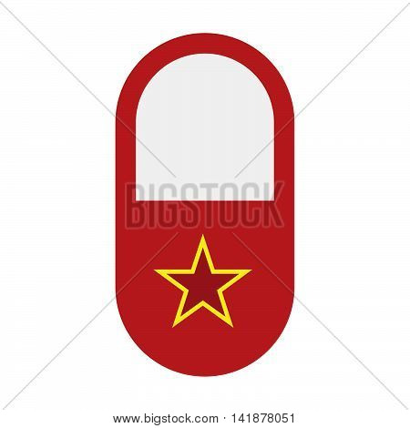 Isolated Pill Icon With  The Red Star Of Communism Icon