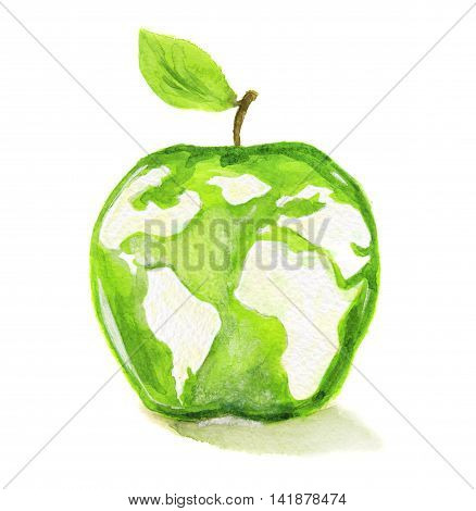 Watercolor apple with world map. Concept of healthy, organic products, eco lifestyle.
