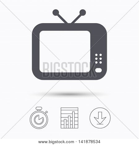 TV icon. Retro television symbol. Stopwatch, chart graph and download arrow. Linear icons on white background. Vector