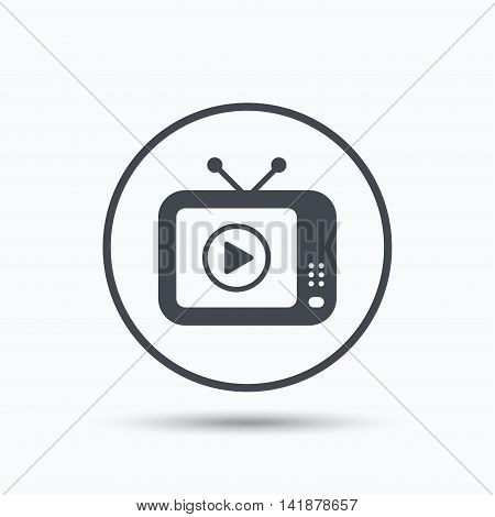TV icon. Retro television symbol. Circle button with flat web icon on white background. Vector