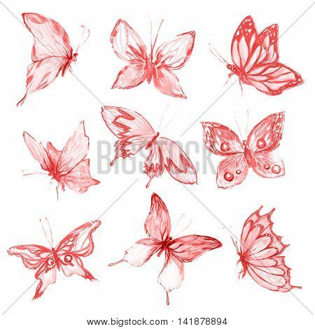 Watercolor butterflies set. Pink and red butterflies on white background. Beautiful fragile creatures for decoration.