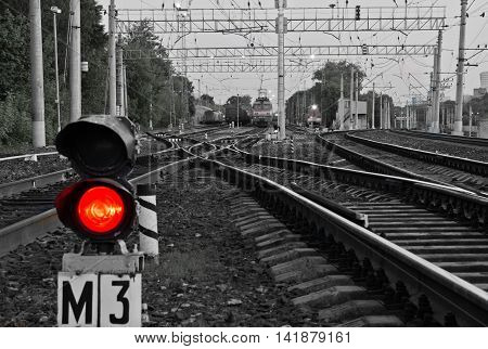 Red Semaphore Signal On Railway In The Summer