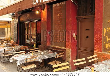 Aix en Provence France - april 21 2016 : a restaurant in city center