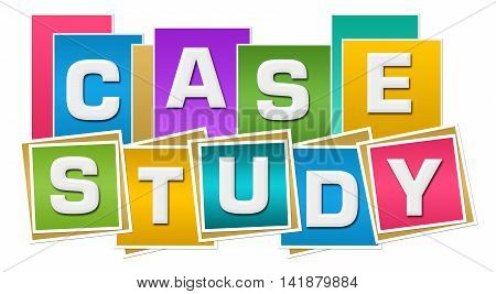 Case study text alphabets written over colorful background.