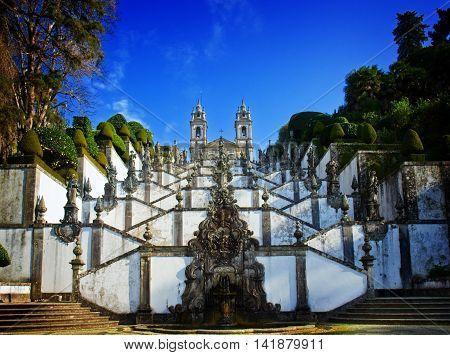 Shrine of Good Jesus of the Mountain, Braga, Portugal, retro toned